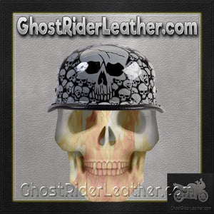 Grey Boneyard Skulls German Novelty Motorcycle Helmet / SKU USA-H5402-GREY-DL - Ghost Rider Leather