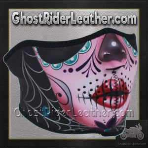 Half Mask Made of Neoprene Sugar Skull Design / SKU GRL-FMS11-WNFM082H - Ghost Rider Leather