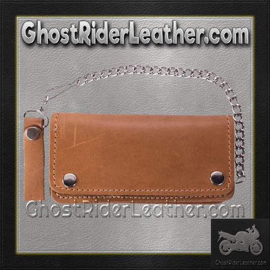 Heavy Duty Tan Leather Chain Wallet / SKU GRL-AC51-11TAN-DL - Ghost Rider Leather