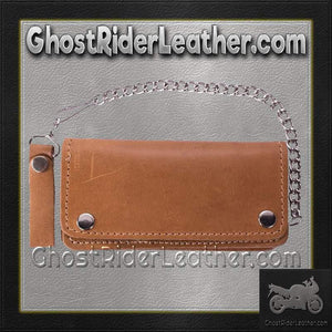 Heavy Duty Tan Leather Chain Wallet / SKU GRL-AC51-11TAN-DL-chain wallet-Ghost Rider Leather