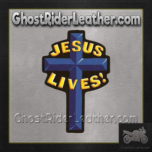 Jesus Lives Cross Christian Biker Patch / SKU GRL-PAT-A42-DL - Ghost Rider Leather