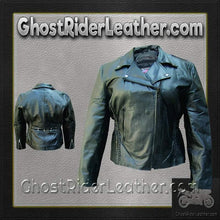 Ladies Biker Leather Jacket With Braid Trim / SKU GRL-AL2103-AL-ladies leather jacket-Ghost Rider Leather