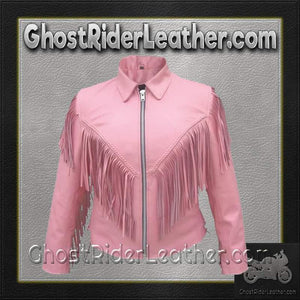 Ladies Biker Pink Leather Jacket with Fringe / SKU GRL-AL2121-AL-ladies leather jacket-Ghost Rider Leather