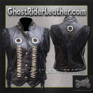 Ladies Black Leather Western Style Beadwork and Bones Vest / SKU GRL-LV428-DL-Ladies western style beaded vest-Ghost Rider Leather