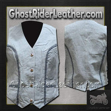 Ladies Blue Leather Vest with Side Laces and Braid Design / SKU GRL-LV221-15-DL - Ghost Rider Leather