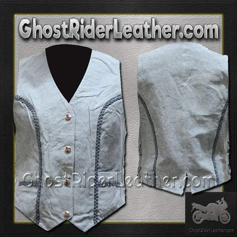 Ladies Blue Leather Vest with Side Laces and Braid Design / SKU GRL-LV221-15-DL-blue leather ladies vest-Ghost Rider Leather