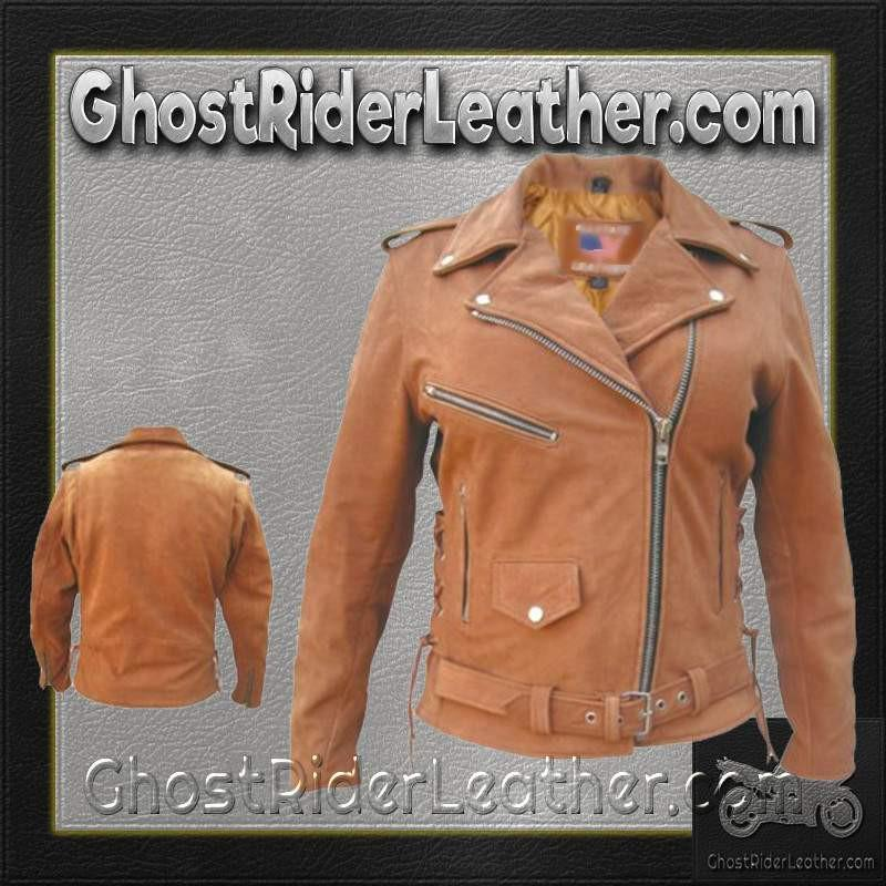 Ladies Classic Biker Brown Leather Jacket / SKU GRL-AL2115-AL-ladies leather jacket-Ghost Rider Leather