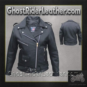 Ladies Classic Biker Full Cut Leather Jacket in Naked Leather / SKU GRL-AL2146-AL-ladies leather jacket-Ghost Rider Leather