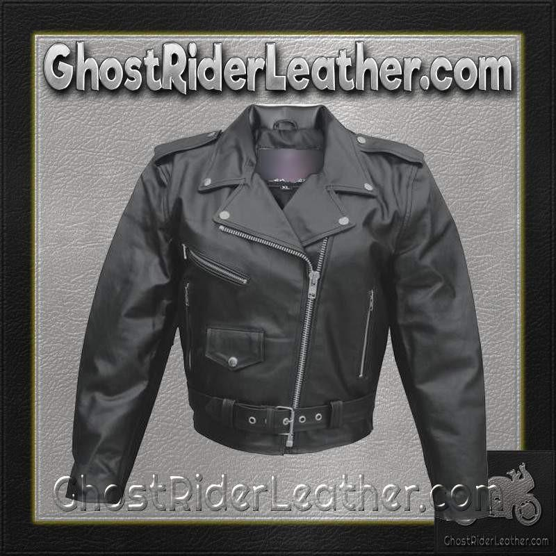 Ladies Classic Biker Leather Jacket Split Cowhide / SKU GRL-AL2101-AL