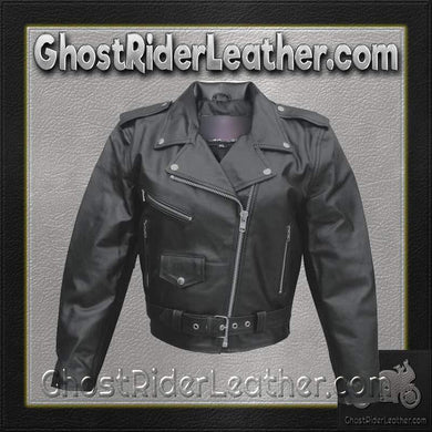 Ladies Classic Biker Leather Jacket Split Cowhide / SKU GRL-AL2101-AL-ladies leather jacket-Ghost Rider Leather