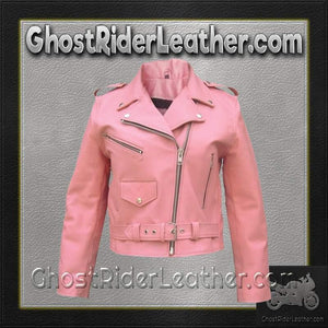 Ladies Classic Biker Pink Leather Jacket - SKU GRL-AL2120-AL - Ghost Rider Leather