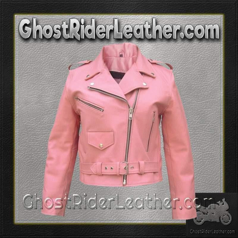 Ladies Classic Biker Pink Leather Jacket - SKU GRL-AL2120-AL-ladies leather jacket-Ghost Rider Leather