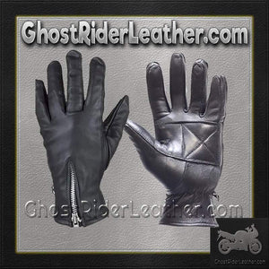 Ladies Full Finger Zipper Leather Gloves / SKU GRL-GL2081-DL-ladies leather gloves-Ghost Rider Leather