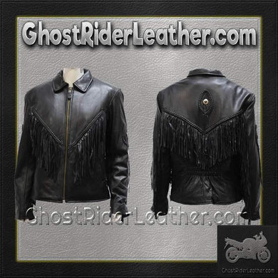 Ladies Leather Jacket with Braid and Fringe Design / SKU GRL-LJ280-DL-ladies leather jacket with fringe-Ghost Rider Leather