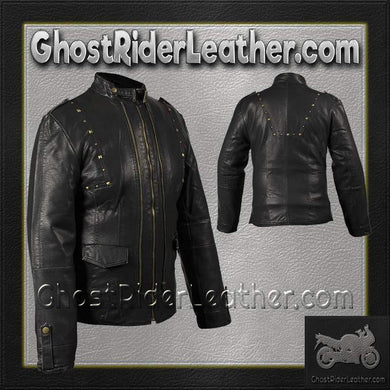 Ladies Leather Jacket With Brass Studs On Front and Back / SKU GRL-LJ214-DL-ladies leather jacket-Ghost Rider Leather