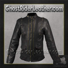 Ladies Leather Jacket With Brass Studs On Front and Back / SKU GRL-LJ214-DL - Ghost Rider Leather