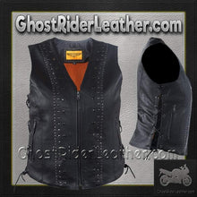 Ladies Leather Motorcycle Vest with Satin Nickel Studs / SKU GRL-LV8510-DL - Ghost Rider Leather
