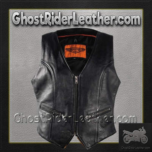 Ladies Leather Motorcycle Zipper Vest with Concealed Carry Pockets / SKU GRL-LV8507-DL - Ghost Rider Leather