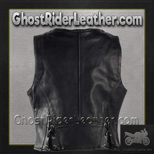 Ladies Leather Motorcycle Zipper Vest with Concealed Carry Pockets / SKU GRL-LV8507-DL-ladies leather vest-Ghost Rider Leather