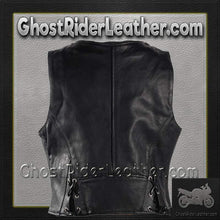 Ladies Leather Vest with Side Laces and Concealed Carry Pocket / SKU GRL-LV8509-DL-Ladies Vest-Ghost Rider Leather