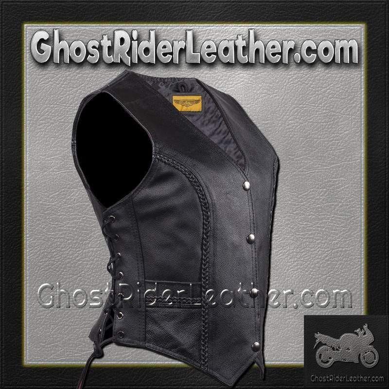 Ladies Longer Length Classic Style Vest with Braid and Side Laces / SKU GRL-LV221-LONG-DL-ladies leather vest-Ghost Rider Leather