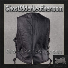 Ladies Longer Length Classic Style Vest with Braid and Side Laces - SKU GRL-LV221-LONG-DL - Ghost Rider Leather
