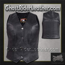 Ladies Plain Leather Vest with Pleated Front and Back / SKU GRL-LV8502-DL-ladies leather vest-Ghost Rider Leather