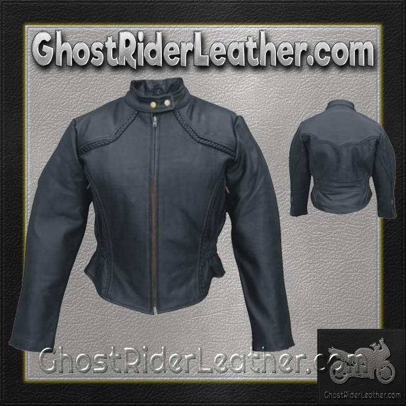 Ladies Racer Biker Leather Jacket With Braid Trim / SKU GRL-AL2142-AL-ladies leather jacket-Ghost Rider Leather