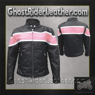 Ladies Racer Biker Leather Jacket With Pink Stripe / SKU GRL-AL2173-AL-ladies leather jacket-Ghost Rider Leather