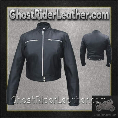 Ladies Racer Biker Leather Riding Jacket / SKU GRL-AL2181-AL-ladies leather jacket-Ghost Rider Leather
