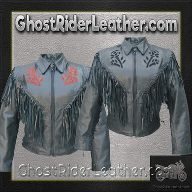Ladies Red or Black Rose Fringe Leather Jacket / SKU GRL-AL2105-2106-AL-ladies leather jacket with fringe-Ghost Rider Leather