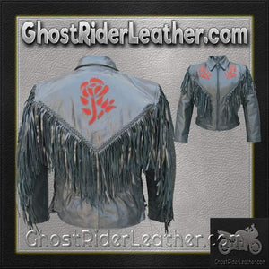 Ladies Red or Black Rose Fringe Leather Jacket / SKU GRL-AL2105-2106-AL - Ghost Rider Leather