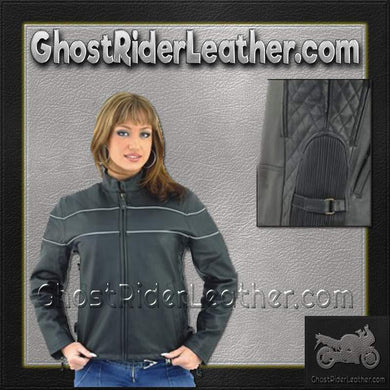 Ladies Reflective Piping Leather Jacket with Air Vents / SKU USA-LJ7900-DL-ladies leather jacket-Ghost Rider Leather