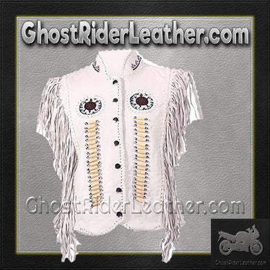 Ladies White Leather Western Style Beadwork and Bones Vest / SKU GRL-LV426-DL-beaded fringe leather vest-Ghost Rider Leather