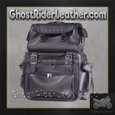 Large PVC Motorcycle Sissy Bar Bag with Studs / SKU GRL-SB002-S-DL - Ghost Rider Leather