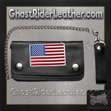 Leather Chain Wallet with USA Flag / SKU GRL-WALLET9-DL - Ghost Rider Leather