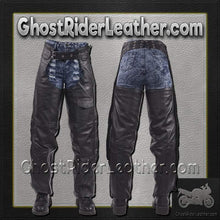 Leather Assless Chaps with Braid Design for Men or Women - SKU GRL-C326-DL - Ghost Rider Leather