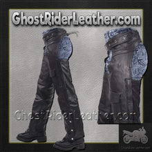 Leather Chaps with Braid Design for Men or Women / SKU GRL-C326-DL-leather chaps-Ghost Rider Leather