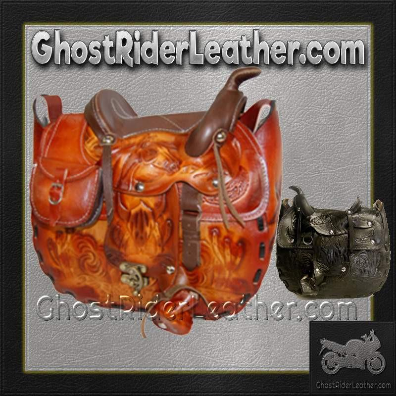 Leather Saddle Purse, Made In USA / SKU GRL-BL44-BL-Handbag-Ghost Rider Leather