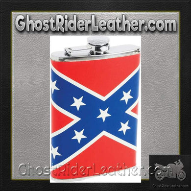 Maxam 8oz Stainless Steel Flask with Rebel Flag Wrap - SKU GRL-KTFLKRBL-BN - Ghost Rider Leather