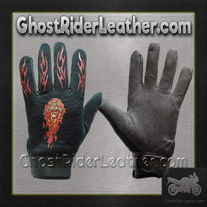 Mechanics Gloves with Flames / SKU GRL-GLZ49-DL-mechanics gloves-Ghost Rider Leather