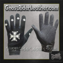 Mechanics Gloves with Iron Cross Design - SKU GRL-GLZ46-DL - Ghost Rider Leather