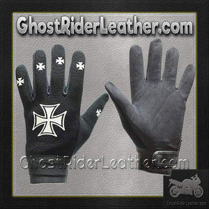 Mechanics Gloves with Iron Cross Design / SKU GRL-GLZ46-DL-mechanics gloves-Ghost Rider Leather