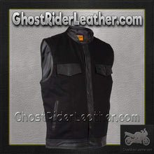 Mens Black Denim Club Vest with Leather Trim - SKU GRL-MV8019-ZIP-BD-DL - Ghost Rider Leather