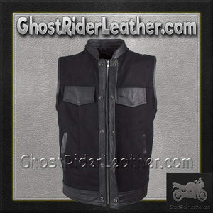 Mens Black Denim Club Vest with Leather Trim / SKU GRL-MV8019-ZIP-BD-DL-motorcycle vests-Ghost Rider Leather