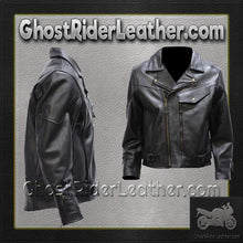 Mens Braided Pistol Pete Leather Motorcycle Jacket - SKU GRL-MJ708-SS-DL - Ghost Rider Leather