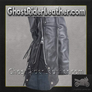 Mens Ladies Unisex Leather Chaps with Braid and Fringe / SKU GRL-C337-DL - Ghost Rider Leather