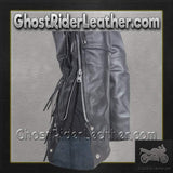 Mens Ladies Unisex Leather Chaps with Braid and Fringe / SKU GRL-C337-DL-leather chaps-Ghost Rider Leather