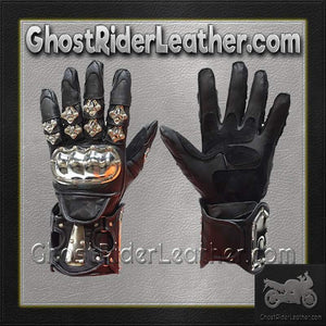 Mens Leather and Metal Gauntlet Racing Gloves - SKU GRL-GLZ8-DL - Ghost Rider Leather