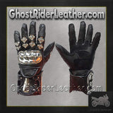 Mens Leather and Metal Gauntlet Racing Gloves / SKU GRL-GLZ8-DL-leather racing gloves-Ghost Rider Leather
